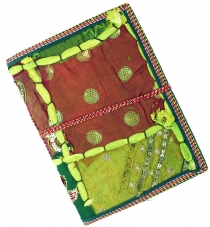 Indian notebook, diary with patchwork binding - green