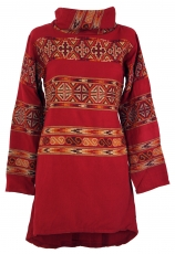 Boho Minikleid, Boho chic Strickkleid - rot