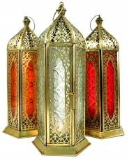 Orientalische Metall/Glas Laterne in marrokanischem Design, Windl..