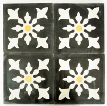 Cement tiles set, Ornament of 4 tiles, anthracite - Design 2