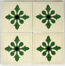 Cement tiles set, Ornament of 4 tiles, white - Design 6
