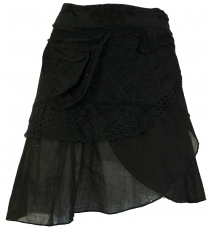 Extravagant wrap skirt with embroidery and small side pocket - bl..