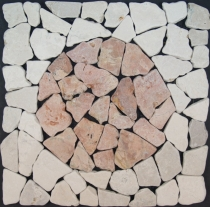 Mosaic tile with marble circle (Mo-09) - Design 22