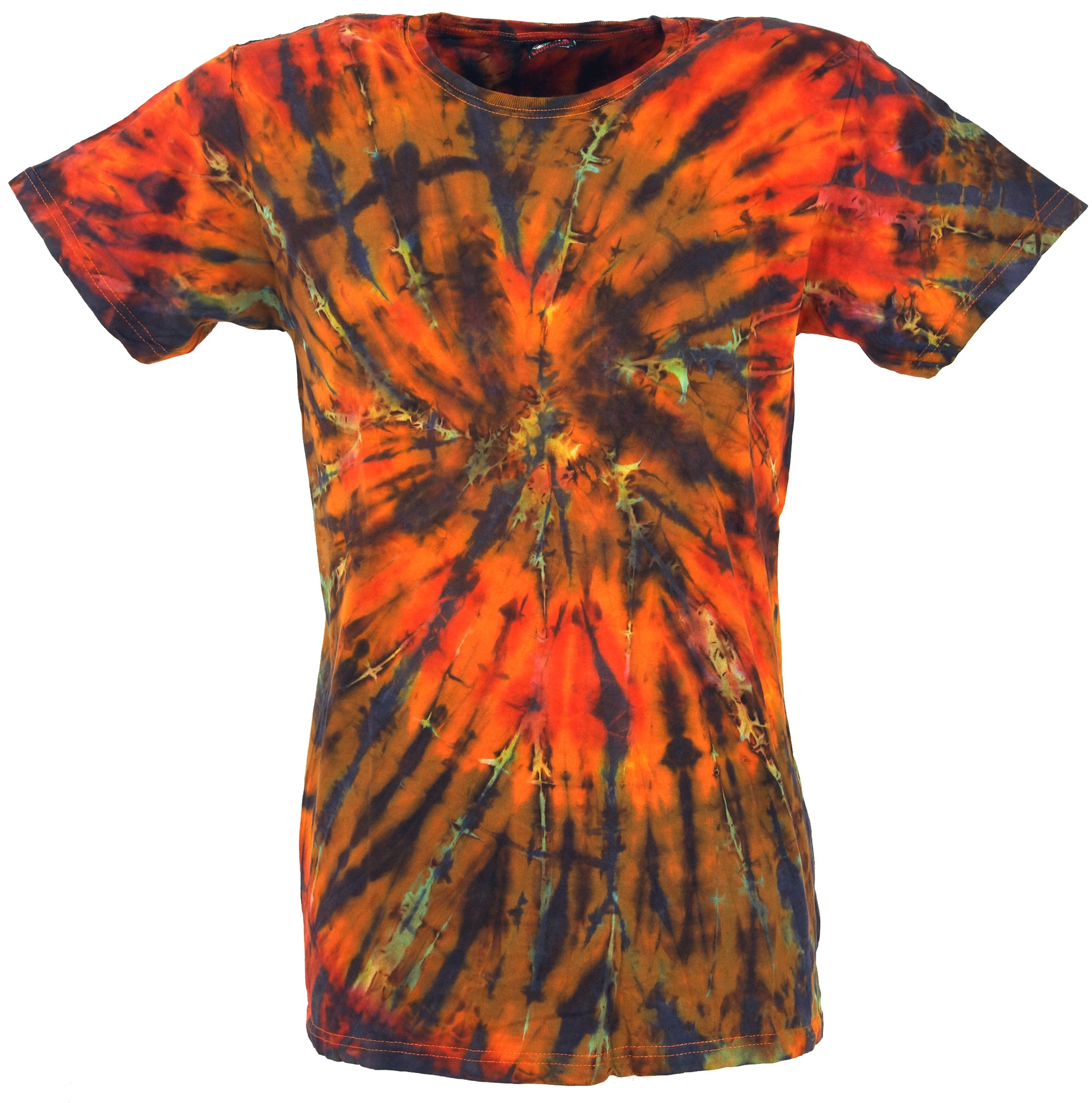 new products 25f64 69f40 Batik T-Shirt, Herren Kurzarm Tie Dye Shirt - orange/bunt Spirale