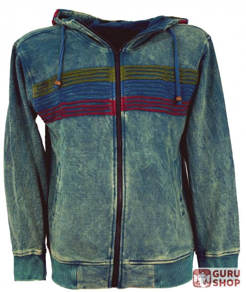a269e47e01 Goa Hoodie Jacket, Stonewash Ethno Hoodie Jacket - petrol