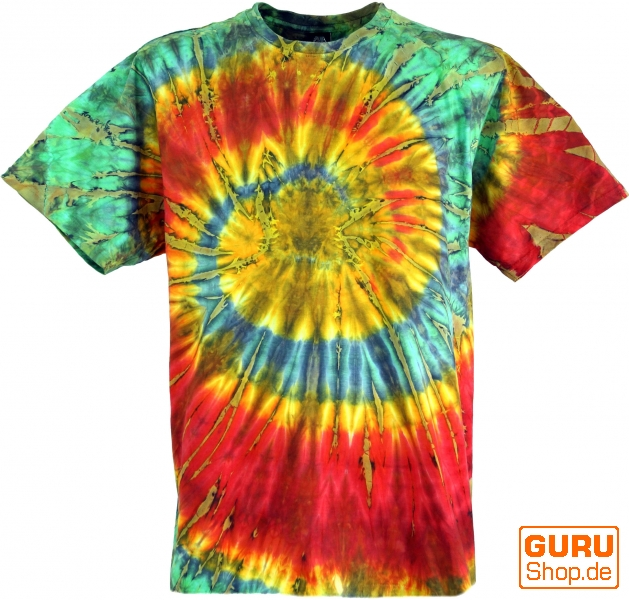 Super Batik T-Shirt, Men Short Sleeve Tie Dye Shirt - red/green Spiral QM51