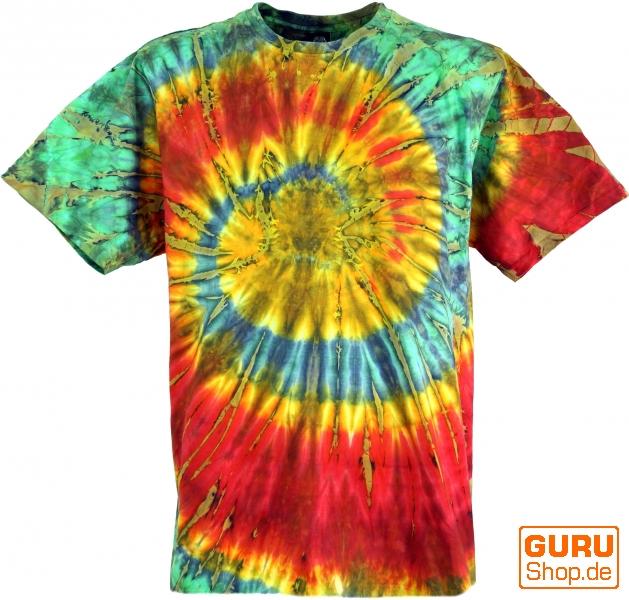 Sehr Batik T-Shirt, Men Short Sleeve Tie Dye Shirt - red/green Spiral GH12