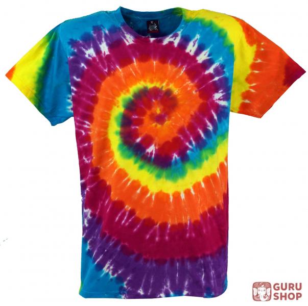 Super Rainbow Batik T-Shirt, Men Short Sleeve Tie Dye Shirt - Spiral 2 OP11