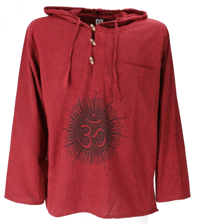 on sale dd5ed 36387 Yoga Hemd, Goa Hemd Om, Sweatshirt - bordeaux/schwarz