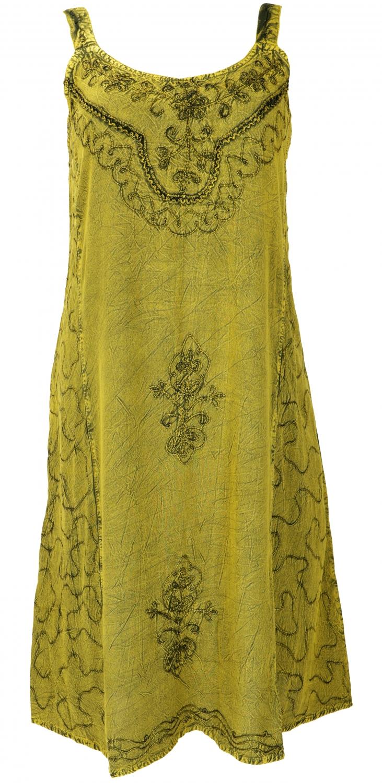 Besticktes Boho Sommerkleid, Midikleid, indisches Hippie Kleid in 9/9  Länge, lemon   Design 9